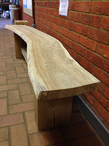 Wayney Edge Oak Slab Bench
